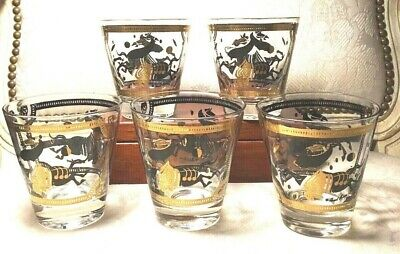 FRED PRESS Old Fashion Low Ball Glasses Trojan Horse Black Gold MCM Signed