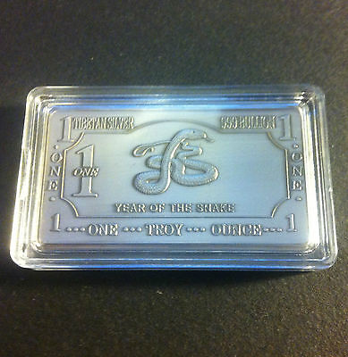 "One Troy Ounce Tibetan Silver ""Year Of The Snake"" Ingot"