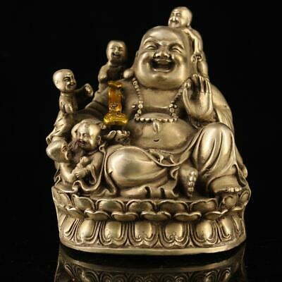 china old copper-plating silver hand-made gold drawing Buddha child statue h01A