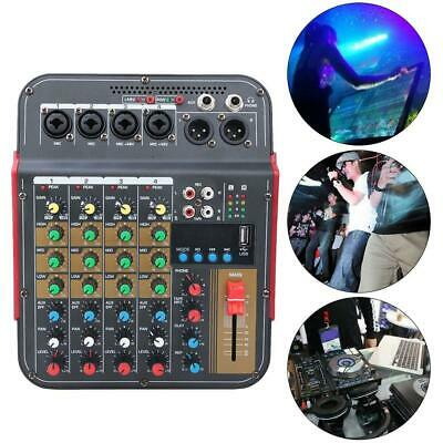 Sound Mixing Board Console Record 4 Channels Audio Stereo Mixer Stage 100~240V