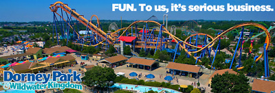 (2) Dorney Park E-tickets 1 Day General Day Admission