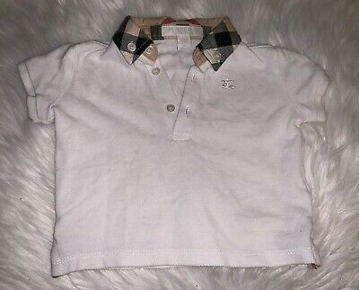 Burberry baby boy shirt, sz 9 months, White with signature plaid collar