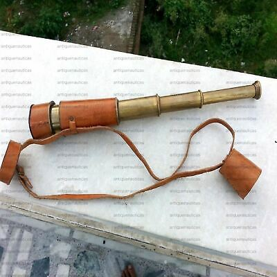 Antique Maritime Telescope Navy Nautical Collectible Marine With Leather Case