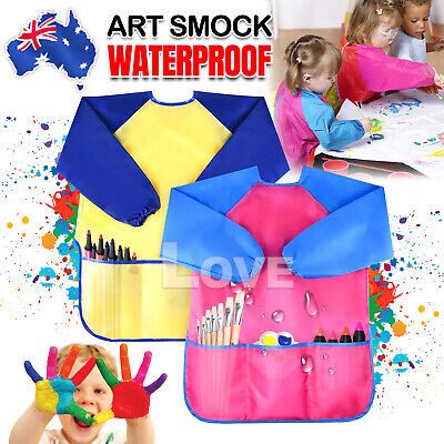 Kids Art Smock Waterproof Apron Long Sleeve Painting Craft Shirt Girls Boys Cook