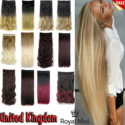 Uk Real Clip In  Long Hair Extension 1 Piece Half Full Head Straight Curly Adult