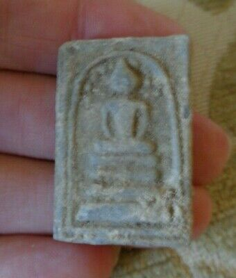 Antique  Ayutthayan Buddha Shrine Amulet Fragment  Bodi Leaf Tree  Throne