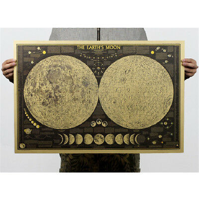 removable vintage paper earth moon world map poster home decoration wall stic AT