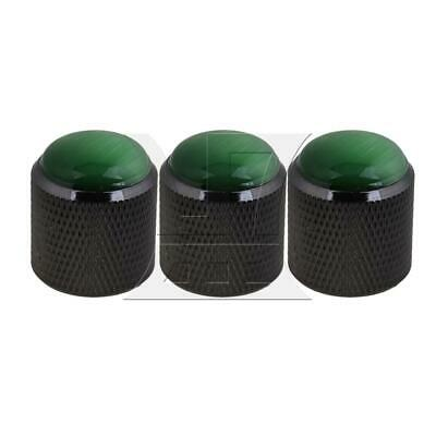 3PCS Black Alloy Plastic Guitar Potentiometer Knobs Green Gemstone