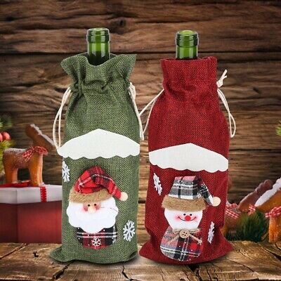 Red Wine Bottle Cover Drawstring Bag Christmas Theme Table Decoration Supplies