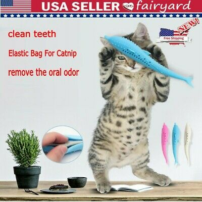 Pet Cat Toothbrush With Catnip Cat Silicone Molar Stick Cat Teeth Cleaning Toy X