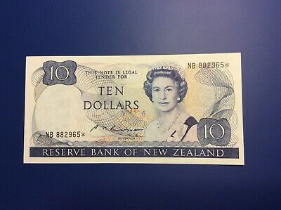 Rare New Zealand Replacement Star $10 Russell Banknote - NB 882965* - VF