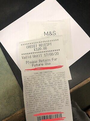 Marks & Spencer M&S Credit Note / Voucher £120 Gift Card