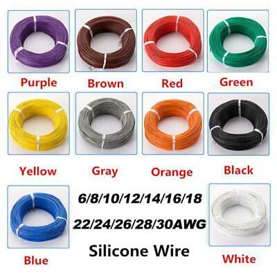 5M Flexible Wire Silicone Cable 6 8 10 12 14 16 18 20 22 24 26 28 30 AWG