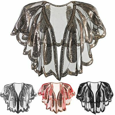 Womens 1920s Beaded Sequin Shawl Vintage Evening Cape Bolero Flapper Cover Up