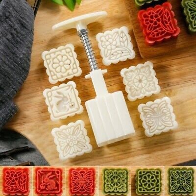 6 Flower Stamps Square Mooncake Mould DIY Baking Tool For Mid-Autumn Festival