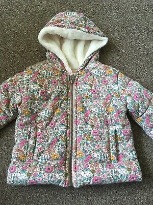 Baby Girls Pink Floral Hooded Coat Age 6-9 Months From Next