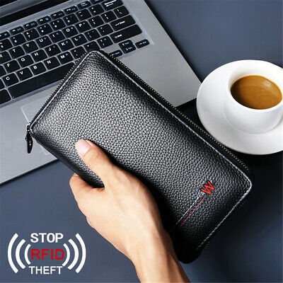Mens Passport Holder Wallet Leather RFID Travel Document ID Card Organizer Bag