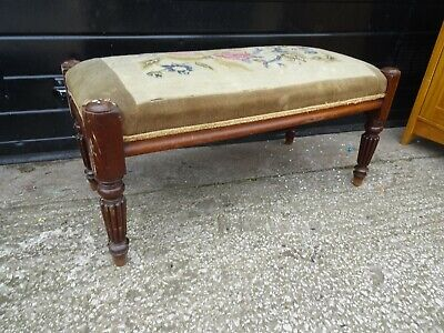 Vintage / Antique Mahogany Framed Upholstered Long Stool
