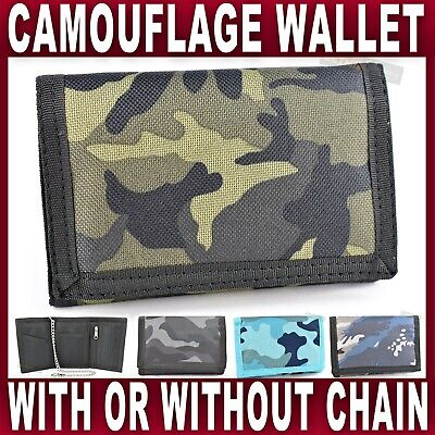 CANVAS WALLET SECURITY CHAIN CAMOUFLAGE Mens Boys Gents Camo army gym fishing