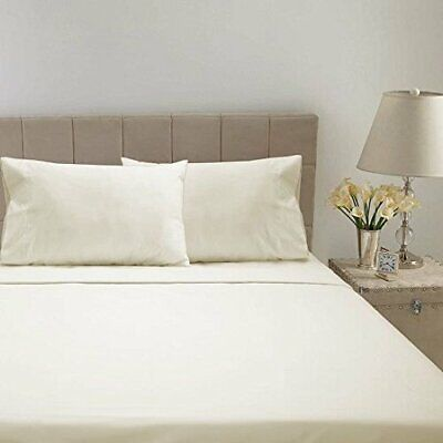 1 Fitted Sheet And 2 Pillowcase Percale Cotton 800 Thread Count Ivory Solid