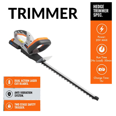 Cordless Hedge Trimmer 20V Battery Powered Bush Cutter Electric Clipper Saw NEW