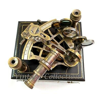 J. Scott Antique Brass Ship Sextant with Two Extra Telescope in Wooden Box
