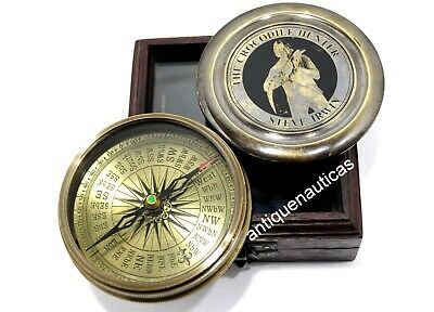THE CROCODILE HUNTER Compass Nautical Antique Collectible Marine With Wooden Box