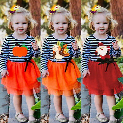 Cute Kids Baby Girl Lace Tulle Party Xmas Halloween Thanksgiving Dress Sundress