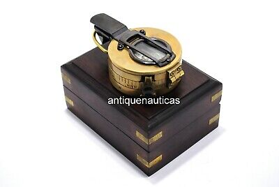 Antique MILLATRY Compass Pocket Compass Vintage Collectible With Rosewood Box