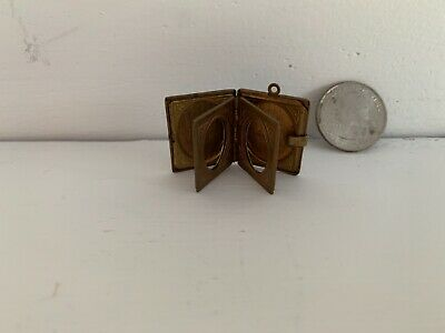 Rare Miniature Brass Locket Book Picture Frame for Antique French Fashion Doll