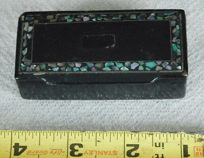 Antique snuff jewelry trinket pill box ebonized wood mother of pearl abalone