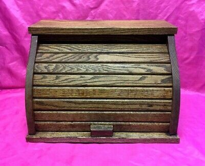 Antique Vintage Solid Oak Wood Roll Top Front Bread Box, Kitchen Decor - Nice!!