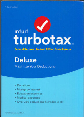 Turbo Tax Deluxe 2016 Federal & State Returns PC & Mac Intuit