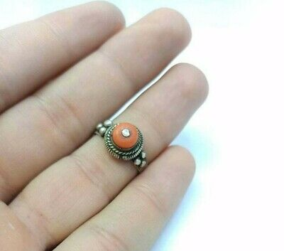 Antique Natural Coral Ring Size 7.25US Sterling Silver Inlaid Persian Jewelry