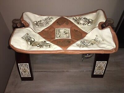 Vintage Saudi Arabia Camel Saddle Leather Wood Foot Stool Ottoman Chair Decor
