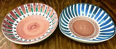 Vintage Lot of (2) Elle Norway Art Pottery Bowls (1 Round, 1 Triangular) Excelle