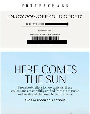 20 Off Pottery Barn Promo Coupon Code Fast Oniine Or In Store Exp 8 26 19 10 15 Business Industrial Other Office Supplies Bol7 Com