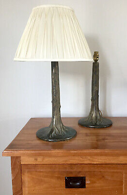 A Pair Tiffany Style Naturalistic Tree Column Hall Side Table Lamps Bronze Metal