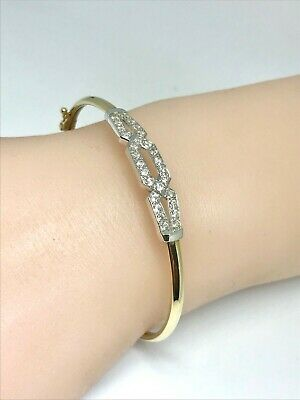 9ct Yellow & White Gold Bangle with Beautiful Crystal set Design.Weight 4.4grams