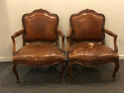 Pair of Antique French Louis XV Carved Armchair in Old Stressed Worn Leather