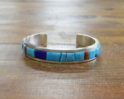 Sterling Silver Turquoise, Lapis, and Coral Raised Inlay Bracelet by Tim Yazzie