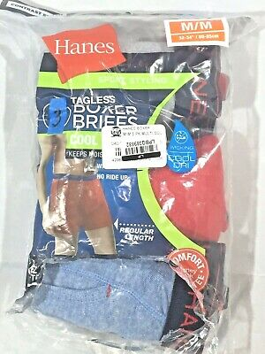Hanes Men's 3 Sport Styling Tag-less  Boxer Briefs - M (32-34)
