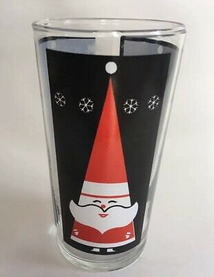 "Vintage Mid Century Holt Howard? Atomic MOD Santa Tumbler Glasses 5"" White Face"