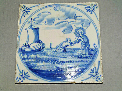 Antique Delft Biblical Tile Blue And White Religious 17Th 18Th Century