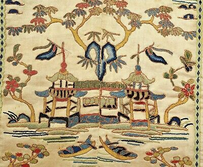 1900's Chinese Silk Embroidery Forbidden Stitches River Scene Panel Tapestry Mk