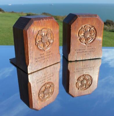 Arts & Crafts Cotswold School Oak Bookends From Windsor Castle Mouseman Style