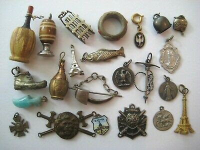 ANTIQUE Charms Miniatures EUROPEAN Findings VTG Fun Old Junk Drawer Lot