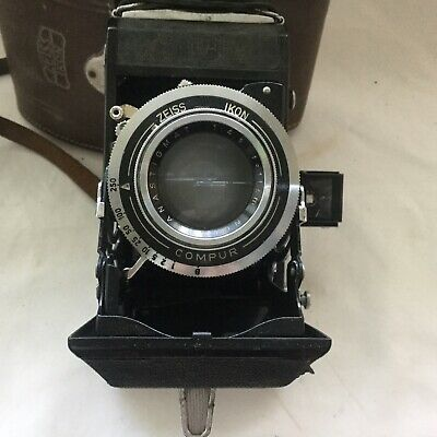 Vintage Zeiss Ikon Folding Camera With Compur Lens In Original Case
