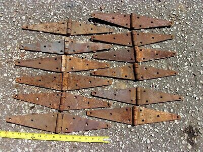 "12 Vtg 16"" Rusty Strap Primitive Iron Barn Cabin Farm Gate Door Hinges Decor OLD"