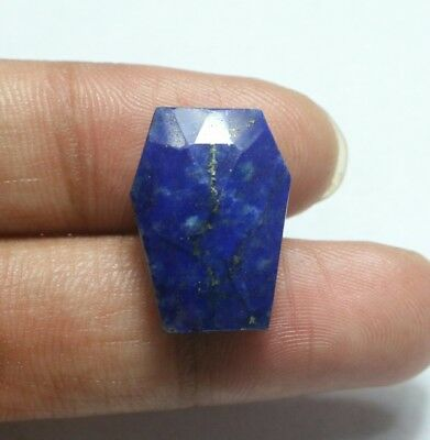 21 Cts Natural Lapis Lazuli Amazing Color Loose Coffin shape Faceted Rose Cut